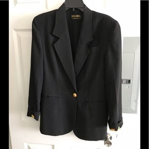 Vintage Escada Black Silk Blazer by M. Ley sz 10/M